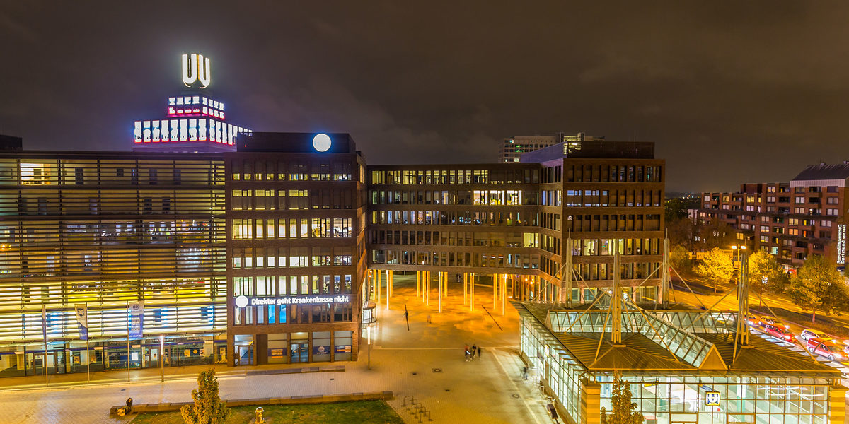 Dortmund, North Rhine Westphalia, Germany - October 18, 2018: Dortmunder U Tower Centre for Art and Creativiity Schlagwort(e): Dortmund, Germany, cityscape, night, evening, skyline, landscape, North Rhine Westphalia, Ruhr area, U, areal, building, center, centre, city, europe, european, Creativiity, Dortmunder U, exterior, german, industrial, landmark, leisure, letter, lights, modern, museum, outdoor, park, place, ruhrvally, sightseeing, sign, sky, station, structure, symbol, theatre, tourism, tower, travel, u-tower, view, westphalia, urban